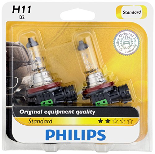 Philips H11 Standard Halogen Replacement Headlight Bulb, 2 Pack (For Headlights Charger 2013)