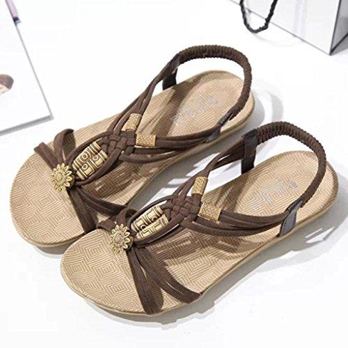 Sandalias Bailarinas Marrón Chanclas de Bohemia ASHOP de Cómodo y De Cuero Cuentas Verano Playa Cordones con Y Las Planas Zapatos Moda Elegante Sandalias Zapatillas Mujer nSqUHqIa