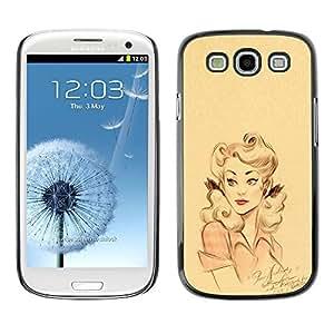 All Phone Most Case / Hard PC Metal piece Shell Slim Cover Protective Case Carcasa Funda Caso de protección para Samsung Galaxy S3 I9300 retro woman pink yellow girl lips pin up