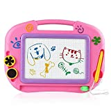 asika Magnetic Drawing Board Kids & Toddlers, Erasable Colorful Magna Doodle Toys Writing Sketching Pad 1 Pen & 2 Stamps, Travel Size (Pink)