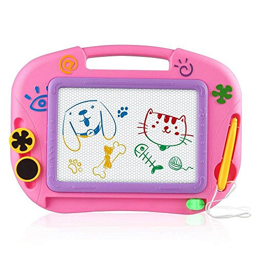 asika Magnetic Drawing Board for Kids & Toddlers, Erasable Colorful Magna Doodle Toys Writing Sketching Pad with 1 Pen & 2 Stamps, travel size (Pink) by asika