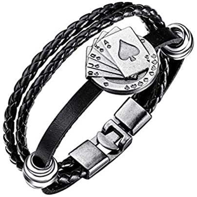 ZUOZUO Leather Wristband Module Men S Retro Poker Brand Charm Bracelet Multilayer Leather Rope Bracelet Bracelet Wristband Friendship Bracelet Jewelry Estimated Price £18.99 -