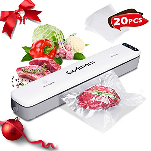 Godmorn Vacuum Sealer Machine, 20Pcs Bags, Dry/Wet Moist, One-Touch Automatic Hands-free, Doubel-Mode Vacuum Packing…