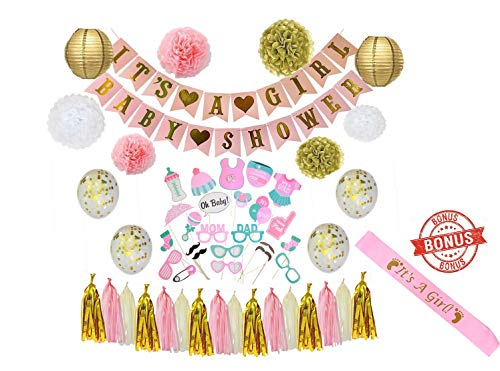 Baby Shower Decorations For Girl - Babyshower Party Supplies Paper Lanterns/Tissue Pom Poms/Balloons/Banner/Sash/Glue Dots/Ribbon - Pink/White/Gold Decorations - Balloon/Lantern Princess Baby Products