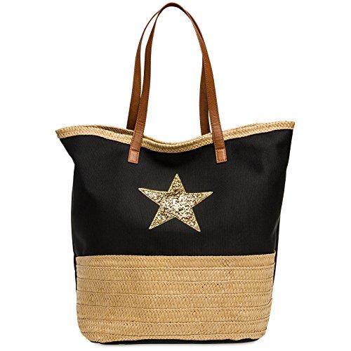 Estrella y Brillo TS1041 Hombro XXL de Grande Rafia Negro para Mujer CASPAR de Bolso Mano con de Bolso Playa 6Zw6dq