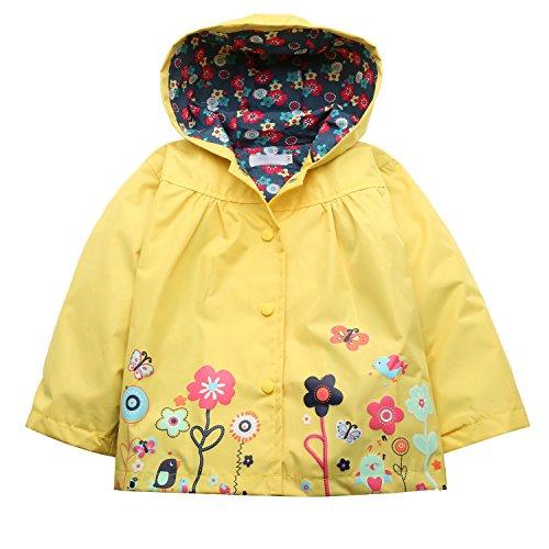 (Zaclotre Baby Girl Kid Waterproof Floral Hooded Rain Jacket Outwear Raincoat with Hoodies)