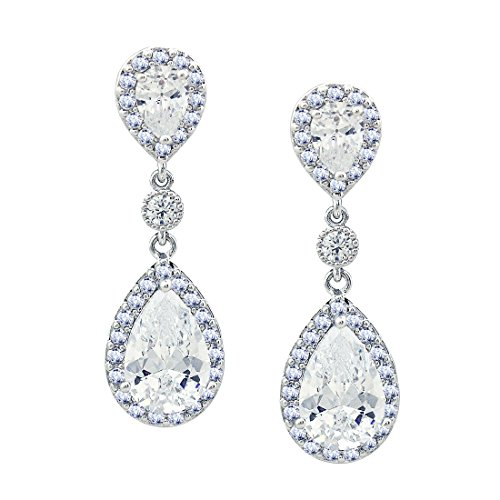 SELOVO Elegant Prong Teardrop Cubic Zirconia Vintage Style Party Bridal Pierced Dangle Earrings