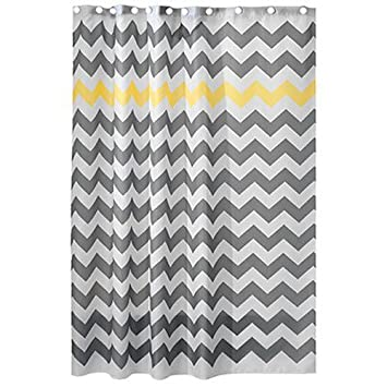 InterDesign Chevron Shower Curtain, 72 X 72 Inch, Gray/Yellow