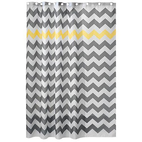 InterDesign Chevron Shower Curtain, 72 x 72-Inch, Gray/Yellow by InterDesign