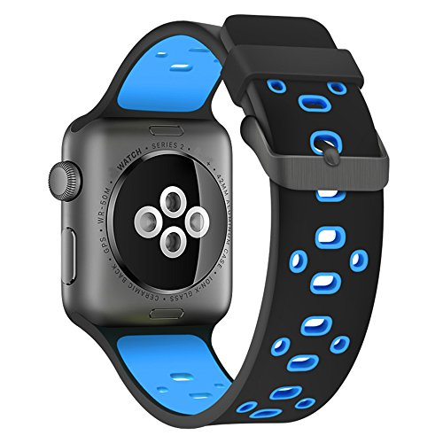 Rykimte Watch Band Soft Silicone Double color Breathable Band Sport Style Replacement Strap Wristband with Adjustable Buckle For Apple Watch iWatch For lady woman girl man boy ( Black blue 42mm )