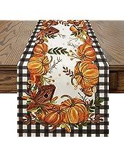 Artoid Mode Buffalo Plaid Pumpkins Mushrooms Birdhouse Leaves Tablecloth Washable Table Linen, Fall Autumn Harvest Farmhouse Rustic Vintage Table Cover for Party Family Dinner