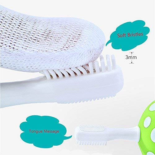 Mushroom Standing Training Toothbrush and Tongue Massage for Baby Infant Newborn Also Chew Teether Silicone Material 4pcs Magenta