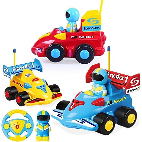 R/c Remote Radio Control (Cartoon R/C Race Car Radio Control Toy for Toddlers (Blue))