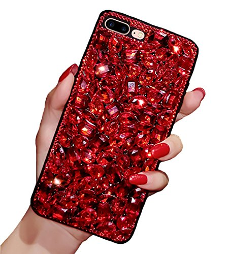 iPhone 7 Plus / 8 Plus Crystal Case, Luxury Fashion Bling Red Rhinestones Glitter Diamond Soft Silicone Protective Phone Case Beauty Shiny Sparkling Cover for Girls (Red, iPhone 7 Plus / 8 Plus) Red Crystal Case