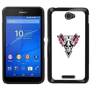 // PHONE CASE GIFT // Duro Estuche protector PC Cáscara Plástico Carcasa Funda Hard Protective Case for Sony Xperia E4 / Cráneo Triángulo /