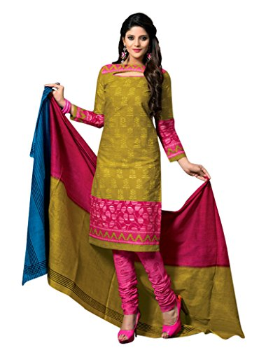 Dfolks Women's Cotton Unstitched Dress Material (DF0023, Yellow, Free Size)