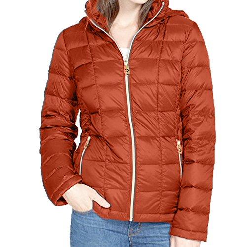 MICHAEL Michael Kors Hooded Down Packable Coat - Orange - Macys Michael Kors