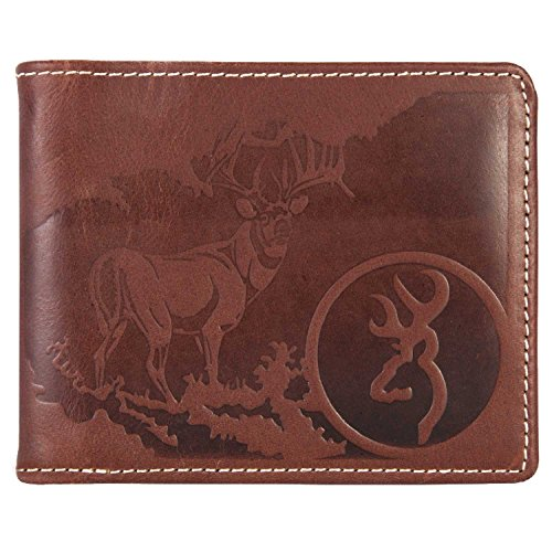 Browning Men's Leather Embossed Bi-Fold Wallet (Brown Smooth Full-Grain Leather, 8 Card Pockets, 2 Side Pockets, 1 Currency Pocket, Sold Individually)