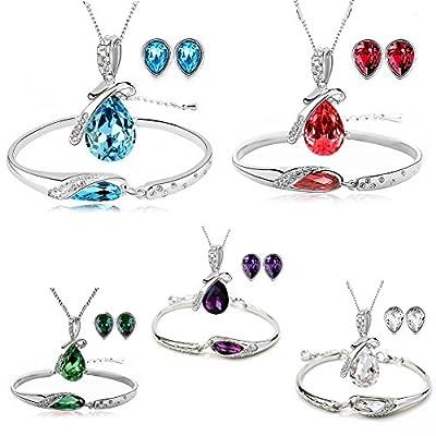 ISAACSONG.DESIGN Silver Tone Healing Crystal Rhinestone Drop Pendant Necklace, Bracelet, Earring Set for Women