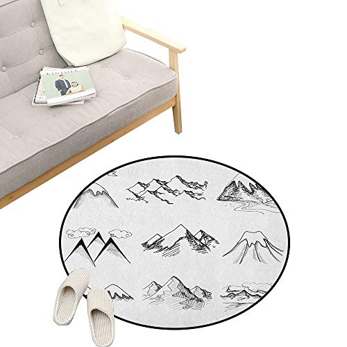 Mountain Round Rug Living Room ,Snowy ICY Mountain Tops Peaks in Winter Hand Drawn Style Climbing Collection, Bedrooms Laundry Room Decor 47