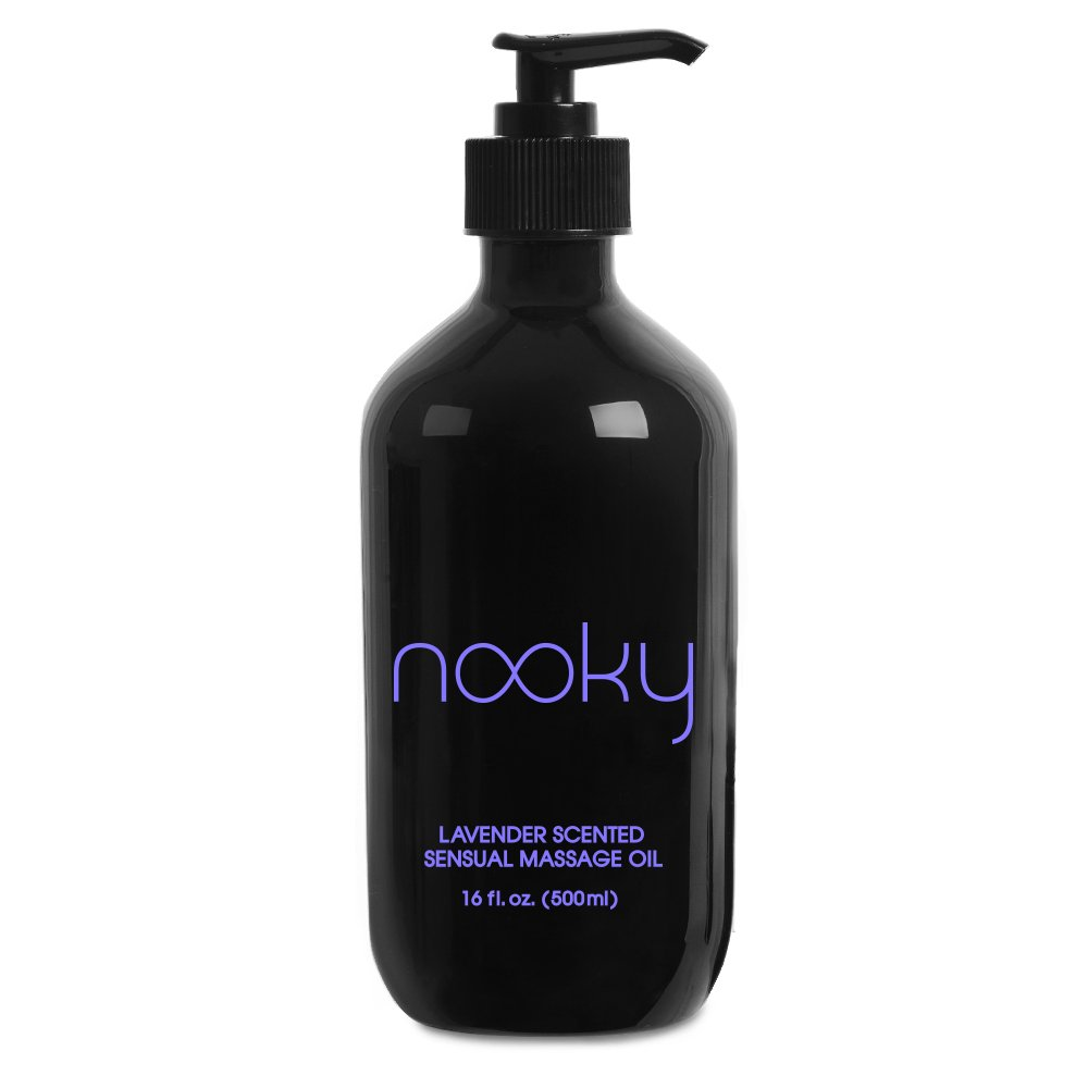 Nooky Lavender Massage Oil. with Essential and Jojoba Oils for Therapeutic Massaging 16 Ounce. by Nooky lube