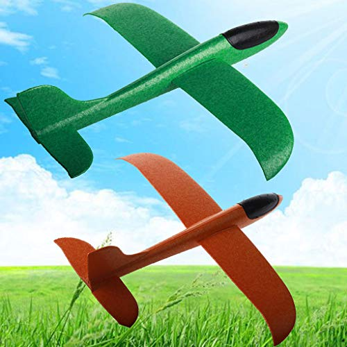 Guo Nuoen 2PC Foam Throwing Glider Airplane Inertia Aircraft Toy Hand Launch Airplane Model for Boy Girl Gift (Green,Orange)]()