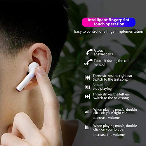 Wireless Earbuds Bluetooth 5.2 Headphone with Fast Charging Case IPX7 Waterproof HiFi Stereo Headphones Built in Mic Headset Premium Sound with Deep Bass for Sport,White