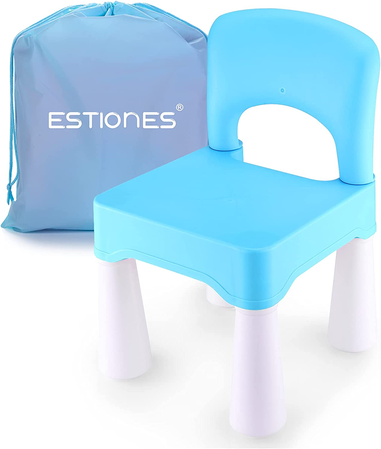 ESTIONES Kids Chair, Toddler Chair, Toddler Chairs for Boys and Girls, an Extra Portable Storage Bag, Ergonomic Design, Environmentally Friendly Durable Plastic (Sky Blue)