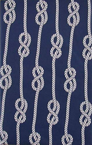 Nautical Knots Vinyl Flannel Back Tablecloth (Navy Blue, 60