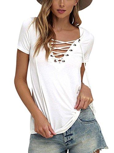 Sumtory Women's Sexy V Neck Bandage Short Sleeve T Shirt Tops – Small, White