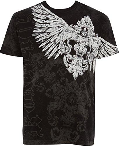 Sakkas T785 - Kevin Eagle Wide Wing Printed Mens T-Shirt - Black - M