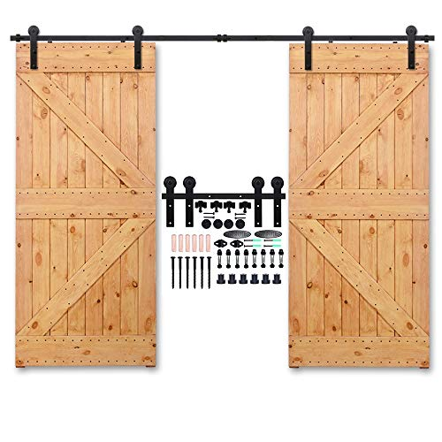 CCJH 14FT Heavy Duty Sliding Barn Wood Door Hardware Track Kit - Smoothly and Stable - Easy Installation - 14 Foot Rail Double Door Kit (Line Shaped Hangers)