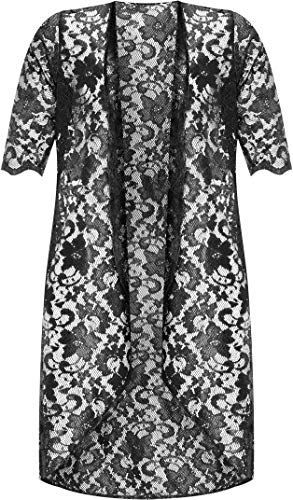 WearAll Womens Plus Size Floral Lace Short Sleeve Long Open Cardigan