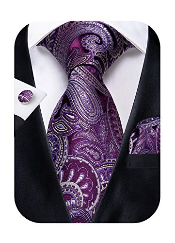 (DiBanGu Paisley Tie Pocket Square Purple Silk Tie Handkerchief Cufflink Set Wedding)