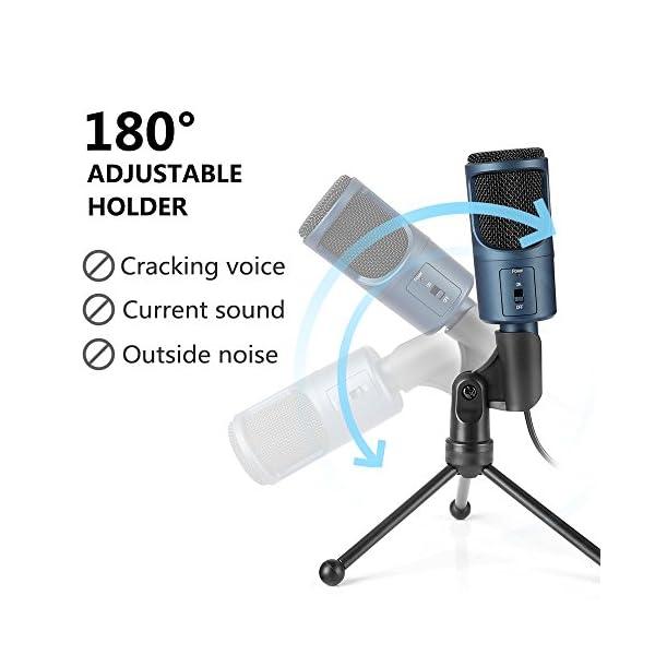 Microfono Usb, MAD GIGA Microfono a Condensatore Con Supporto Pieghevole, Microfono a Condensatore USB Omnidirezionale… 3 spesavip