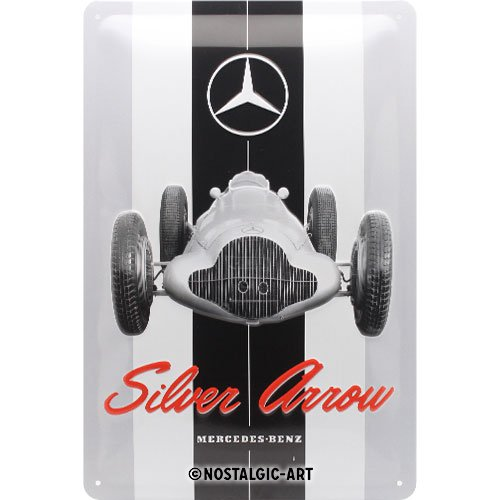 Nostalgic-Art 22275 Mercedes-Benz Silver Arrow | Vintage Retro Tin Sign | Wall Plaque | Wall Decoration | Metal | 20 x 30 cm, 20 x 30 x 0.2 cm