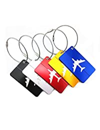 Yueton 5pcs Colorful Aluminum Air Plane Pattern Luggage Tag ID Tag Name Card Holder with Key Ring Holder Wire for Baggage Travel Identifier, Suitcase Label