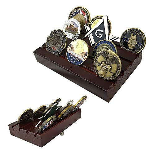 Display Row Coin (Indeep 4 Rows US Army Military Collectible Challenge Coin Display Stand Holder Wooden)