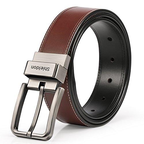 Leather Genuine Belt (SHIELDON Men's 35MM Genuine Leather Reversible Belt Rotated Buckle -)