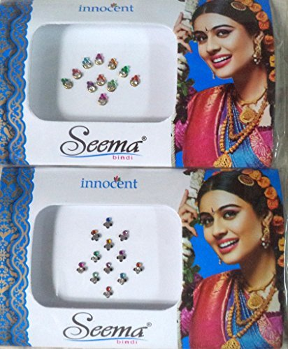Bindi Store Indian Designer Bindi for Women 2 Pack Traditional Colourful - Dance Belly Bindi