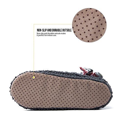 gris Chaussons Hiver Pantoufle 2 Glissement Animal MaaMgic à Flou Anti Intérieur fonce la Maison Femme Mignon EqBOAwO