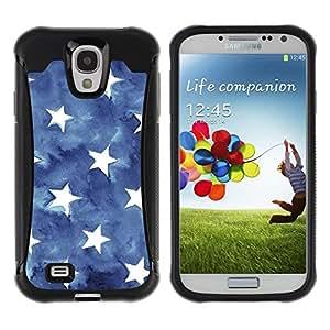 """Hypernova Defender Series TPU protection Cas Case Coque pour Samsung Galaxy S4 IV I9500 [Las rayas de la bandera americana Azul Blanco""""]"""