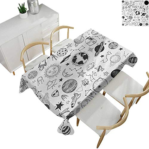 Boys,Christmas Tablecloth Hand Drawn Planets Asteroids Constellations Monochrome Elements from The Universe Patterned Tablecloth Black White 54