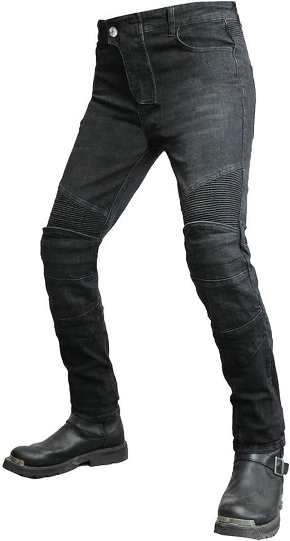 JICAIXIAYA Hombre Pantalones Para Motocicleta, Moto Pants Respirable Resistente Al Desgaste Delgado Con Retirable Alargado Armadura Forro Protección, Motorcycle Kevlar Tela Jeans (Negro,L)