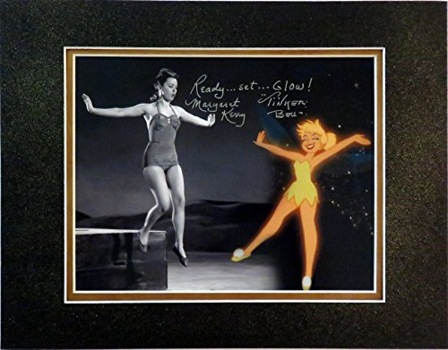Disney Autographed Tinker Bell Photo w/Glittered Matte - Ready.Set.Glow ! Signed By Original Reference Model for Tink, Margaret Kerry
