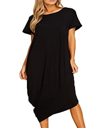 Ofenbuy Womens Plus Size Summer Dresses Short Sleeve Boat Neck Loose Casual  Midi Dress