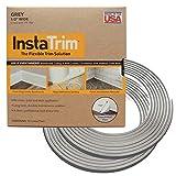 Instatrim–Universal, flexible, ribete calcomanía solución–Funda brechas entre paredes, suelos, techos, y más (acero gris)