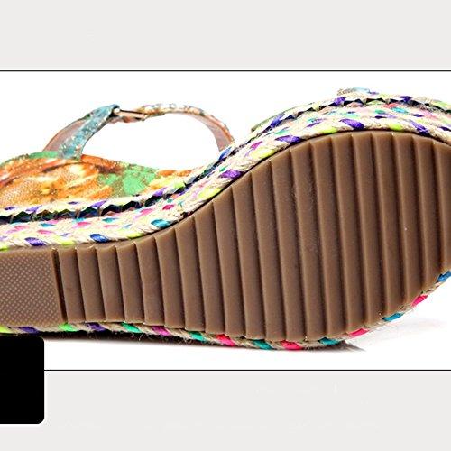 FEIFEI UK3 Moda CN34 4 da altezza dimensioni con stoffa impermeabile estiva Materiale 11 donna di piattaforma comodi Scarpe EU35 Sandali 5 cm cm Sd1qcdA