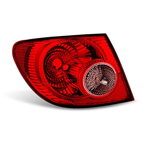 (VIPMOTOZ Red Lens OE-Style Outer Body Tail Light Lamp Assembly For 2005-2008 Toyota Corolla, Driver Side)