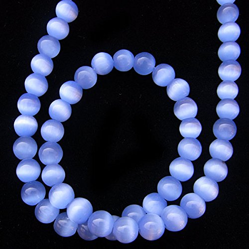 TheTasteJewelry 10mm Round Light Blue Cat Eye Beads 15 inches 38cm Jewelry Making Necklace (Cat Eye 10mm Round Beads)